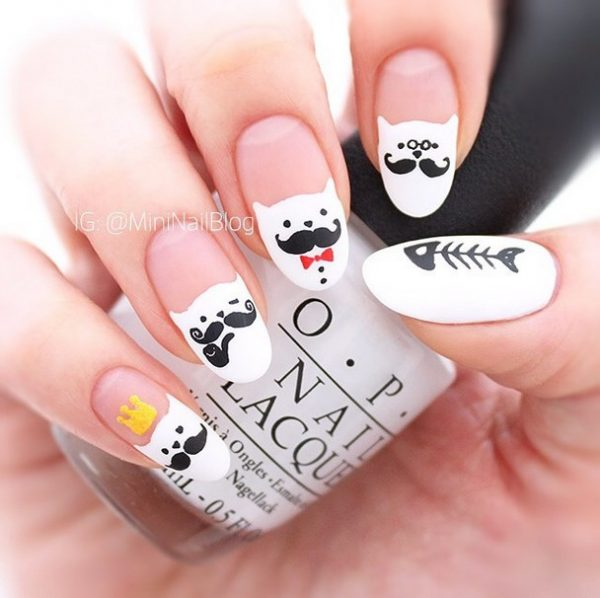 moustache cat nails bmodish