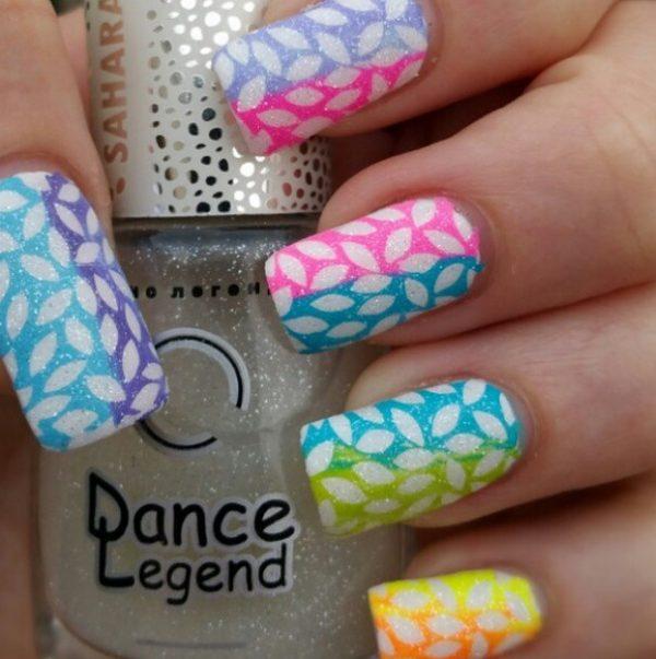 neon gradient spring nails bmodish
