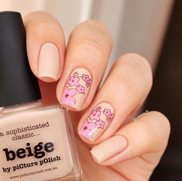 nude flower nail art bmodish