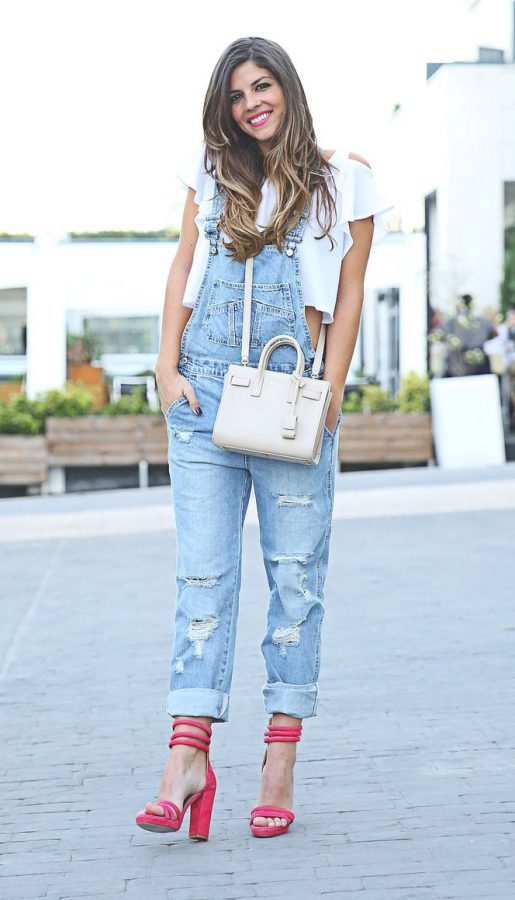 overall denim with crop blouse bmodish
