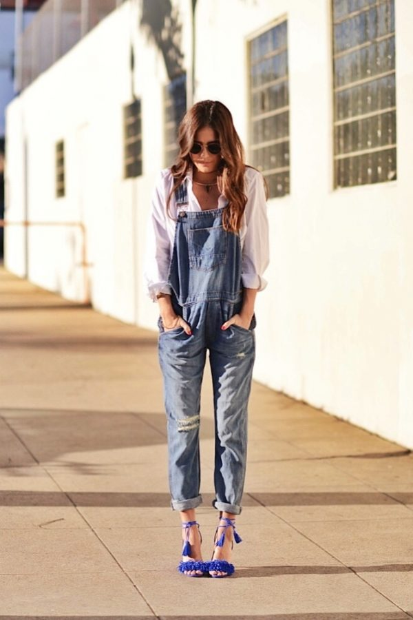 overall with white button down shirt bmodish