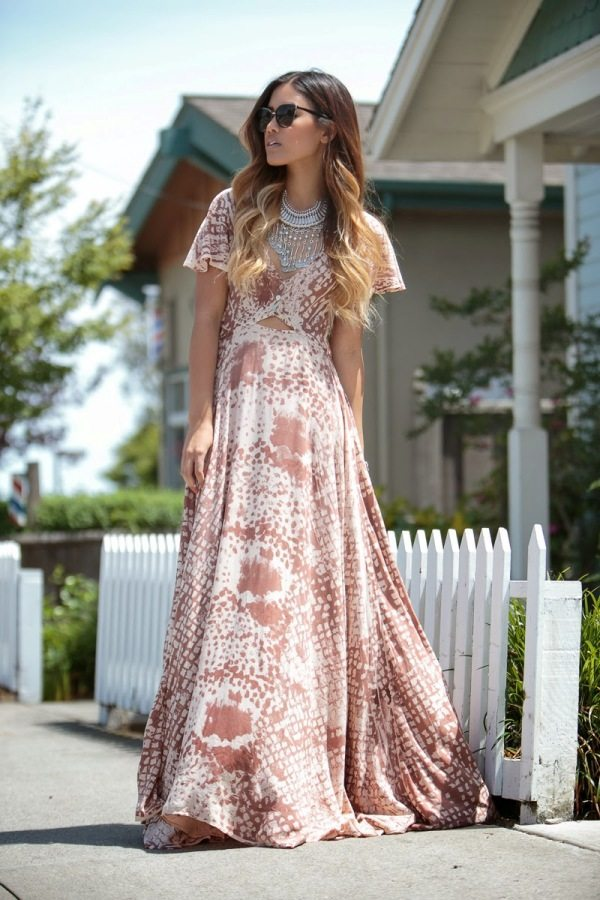 patterned maxi dress bmodish