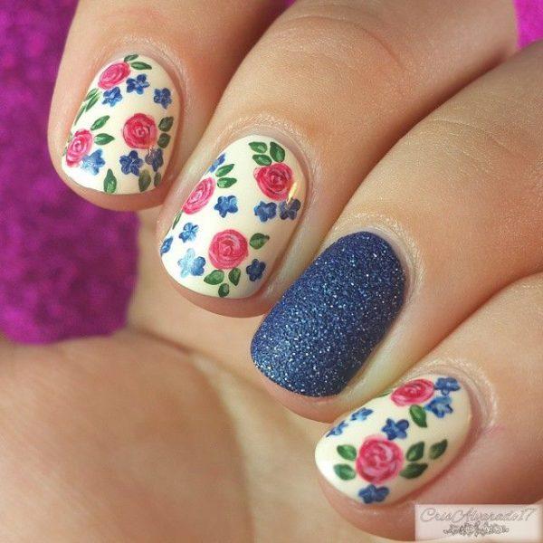 pink and navy floral nails bmodish