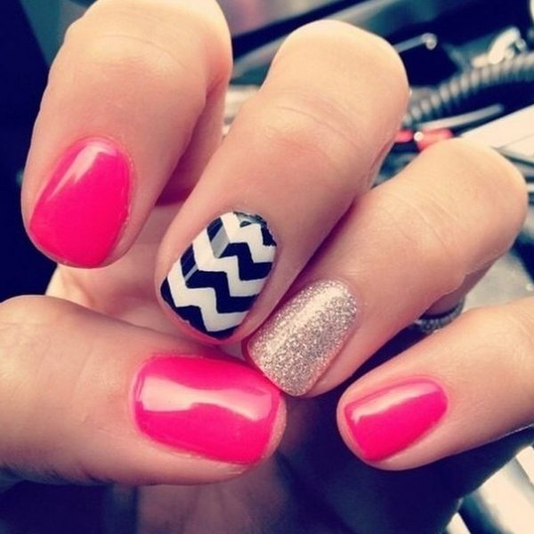 pink, chevron and glitter nails bmodish