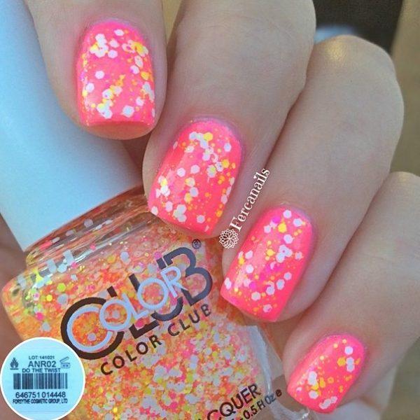pink glitter nails bmodish