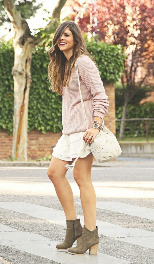 pink sweater with skirt spring casual outfit bmodish