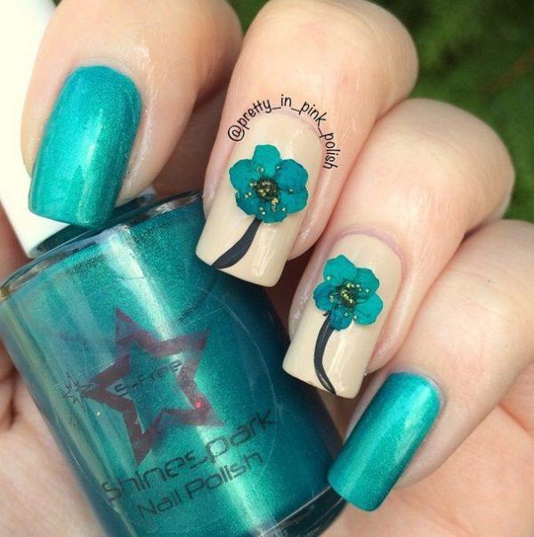 pressed flowers cute nail art bmodish