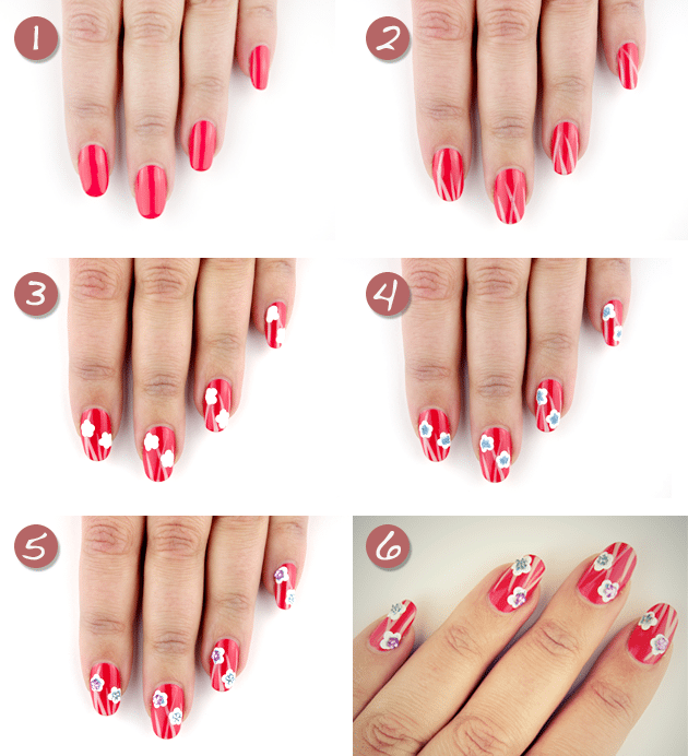 red floral diy nail art bmodish