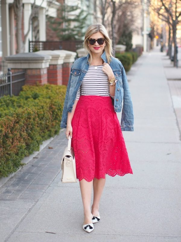 red midi skirt bmodish