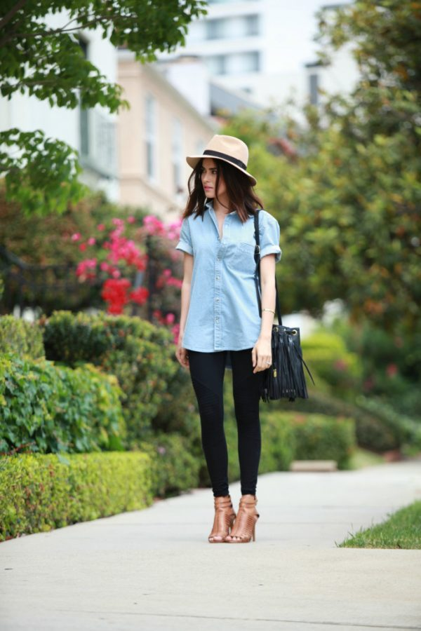 short sleeve chambray shirt with leggings bmodish