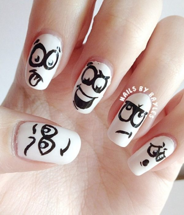silly face black white nail art bmodish