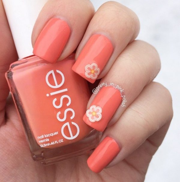 simple cute coral spring nails bmodish