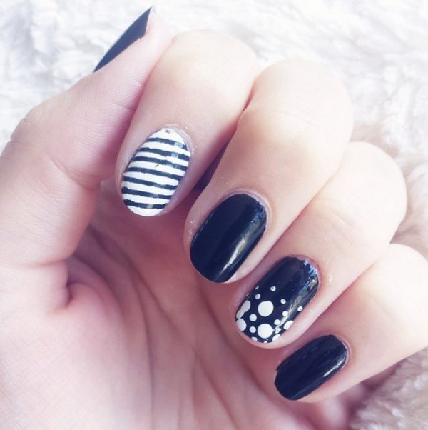 simple stripe and dots black white nails bmodish