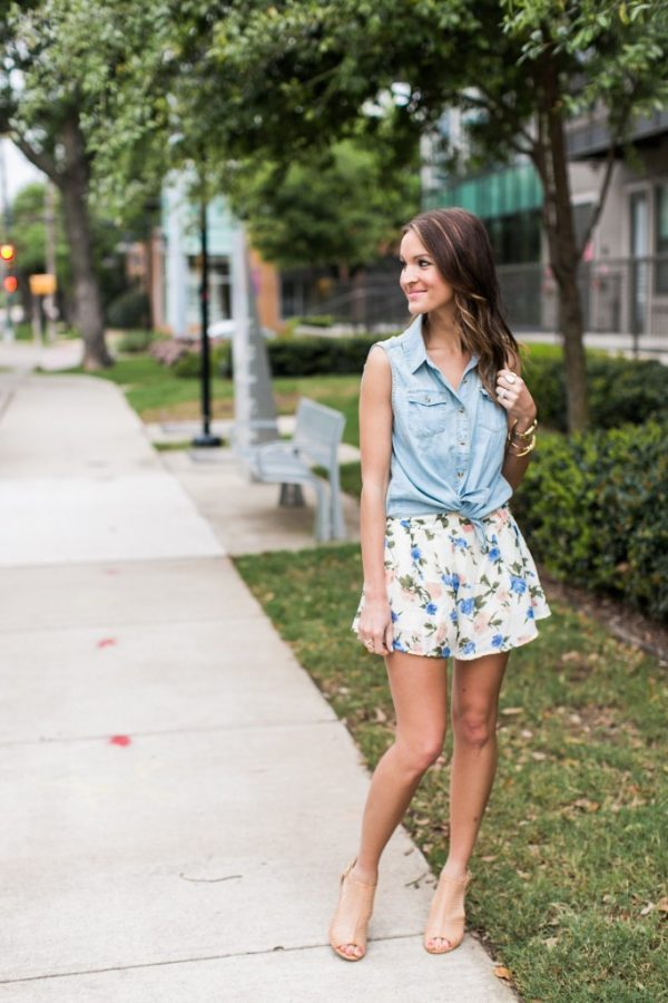 sleeveless chambray shirt with floral short bmodish