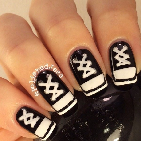 black and white sneakers nail art bmodish