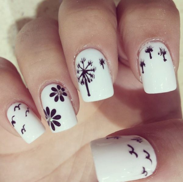 spring dandelion black and white nails bmodish