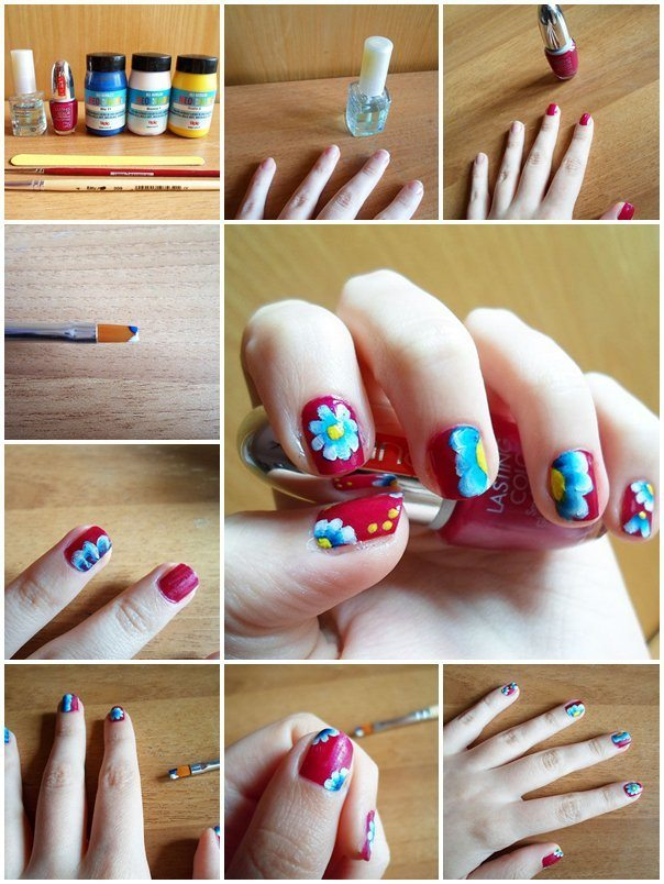 15 easy to follow flower nail art tutorials be modish spring floral nail art step by step bmodish prinsesfo Choice Image