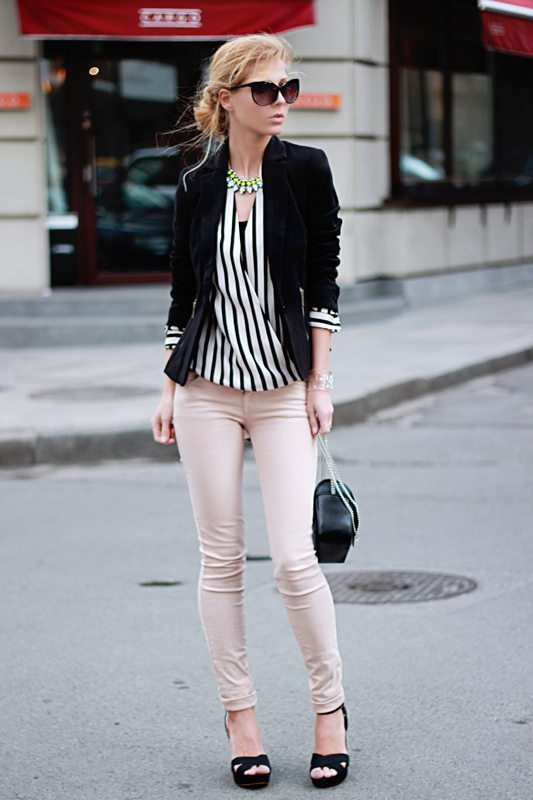 stripe blouse with blazer bmodish