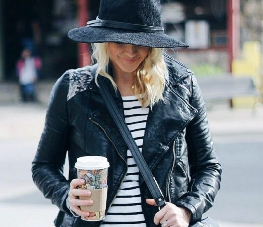 stripe t shirt with biker jacket casual outfit