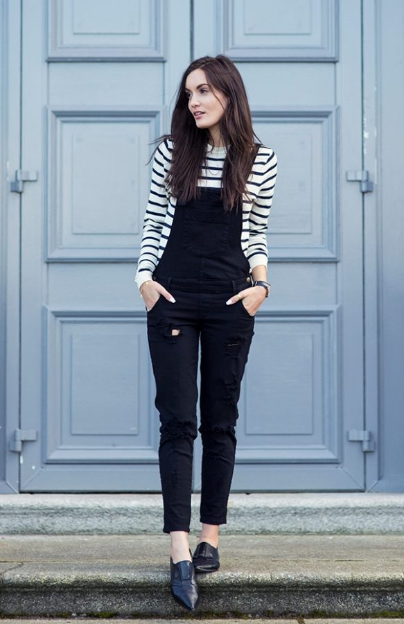 stripe top with black overall bmodish