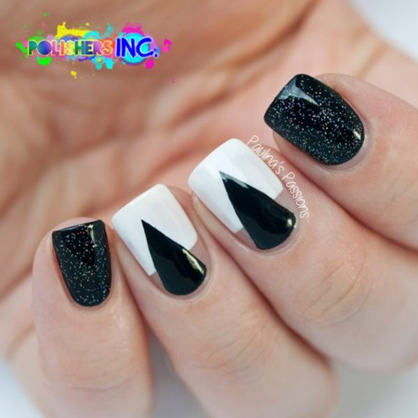 triangle black and white nail design bmodish