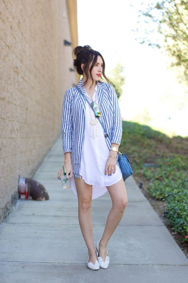 vertical striped blazer white shirtdress bmodish
