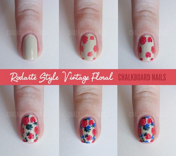 vintage floral nail art tutorial bmodish - 15 Easy To Follow Flower Nail Art Tutorials - Be Modish