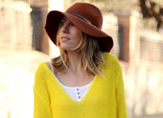 yellow sweater with short spring outfit