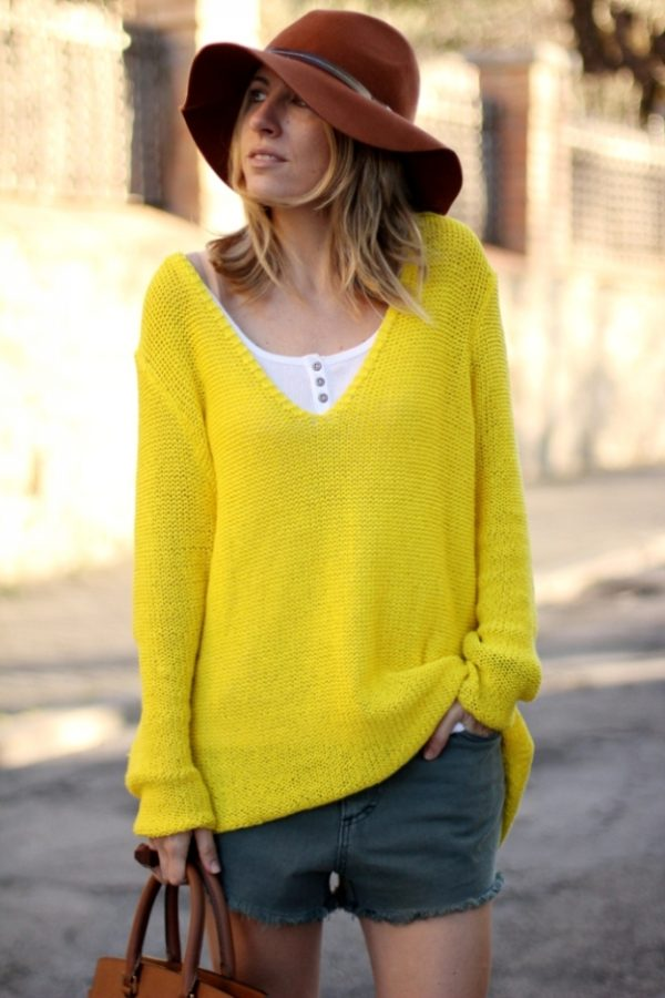 yellow sweater with short bmodish