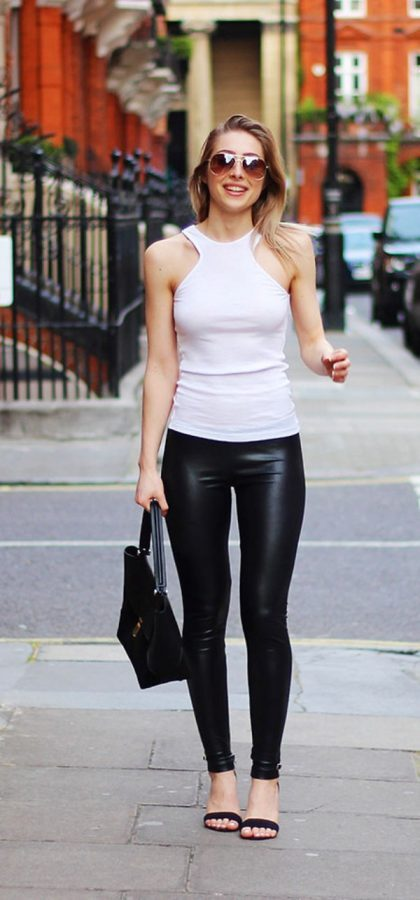 black leggings with tank top summer outfit bmodish