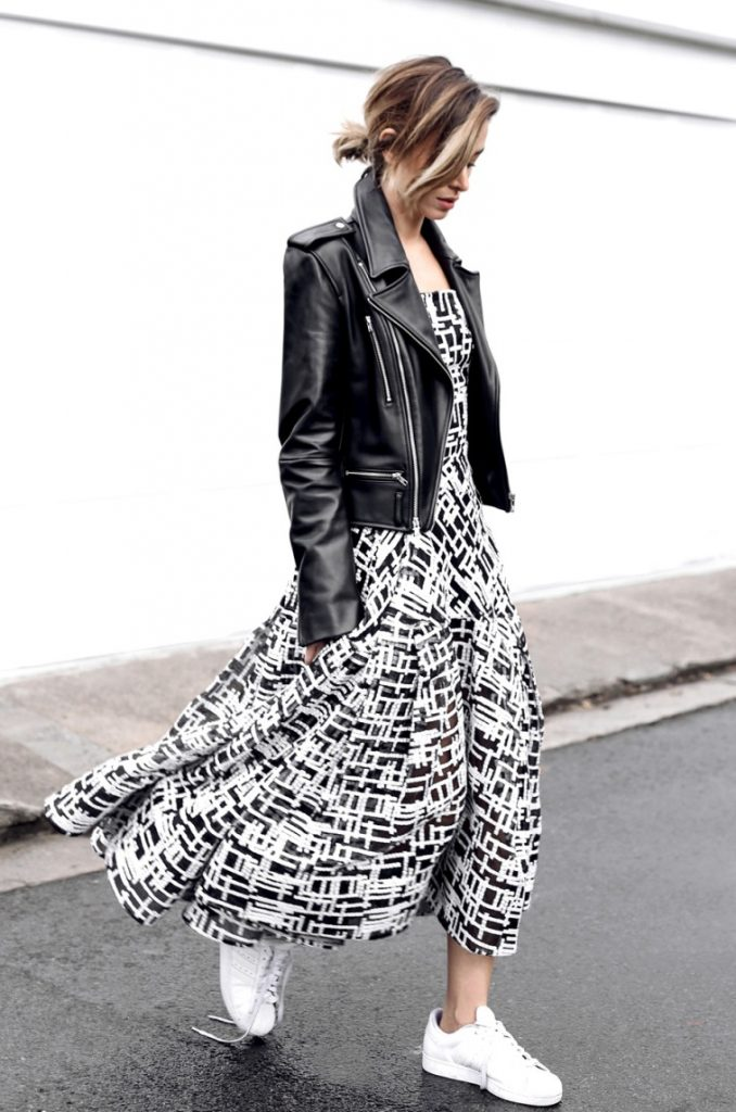 Black White patterned midi dress Outfits bmodish