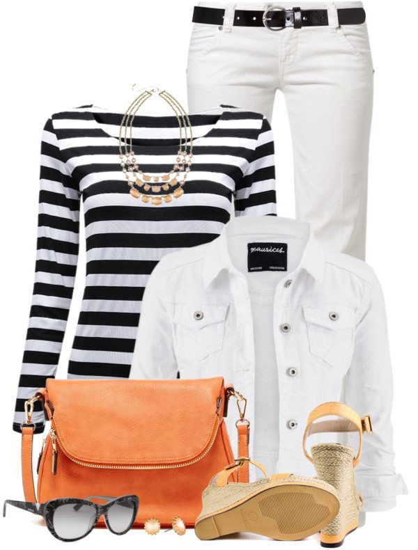 Black & White with a Pop of Orange spring outfit bmodish