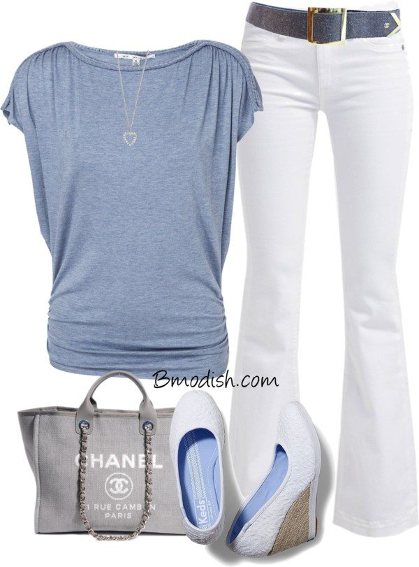Casual chic white bootcut jeans spring outfit bmodish