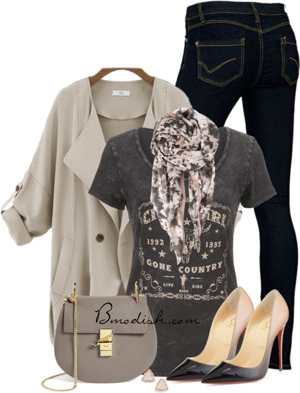 Casual spring outfit with ombre high heels bmodish