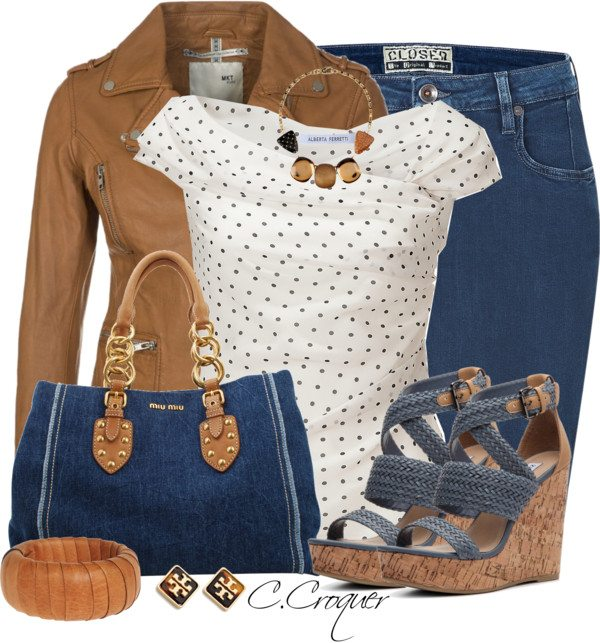 Denim Skirt & Wedges Stylish spring outfit bmodish