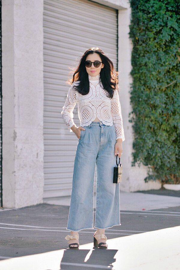 Lace Top Wide Leg Jeans bmodish