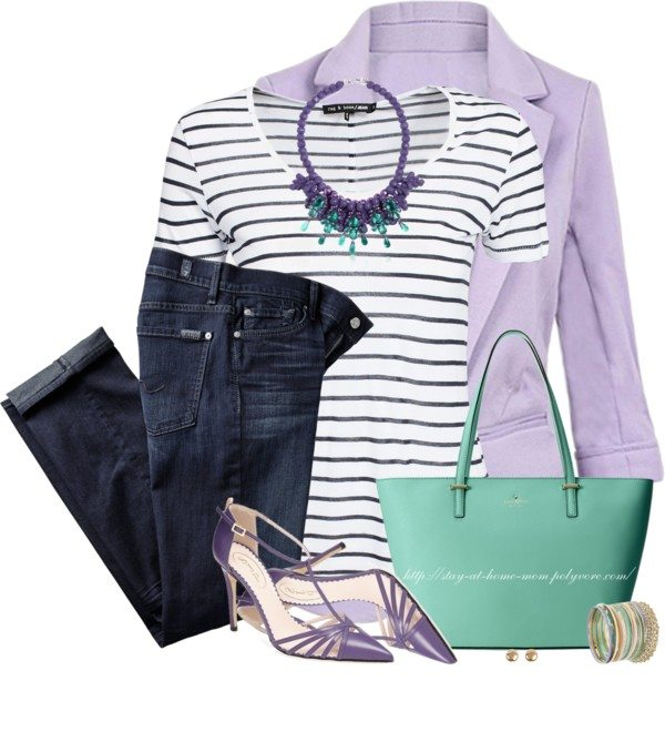 Lavender blazer, striped t shirt casual spring outfit bmodish