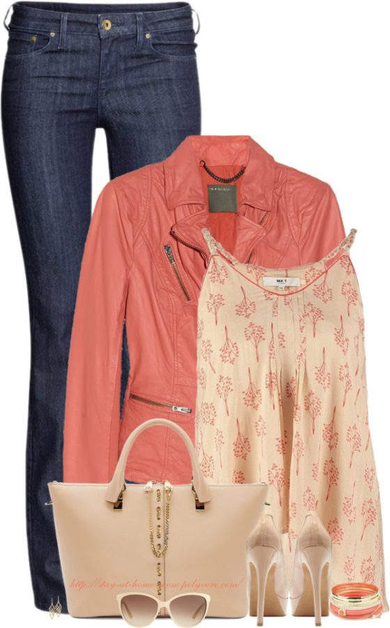 Leather Jacket & Nude Pumps spring outfit bmodish
