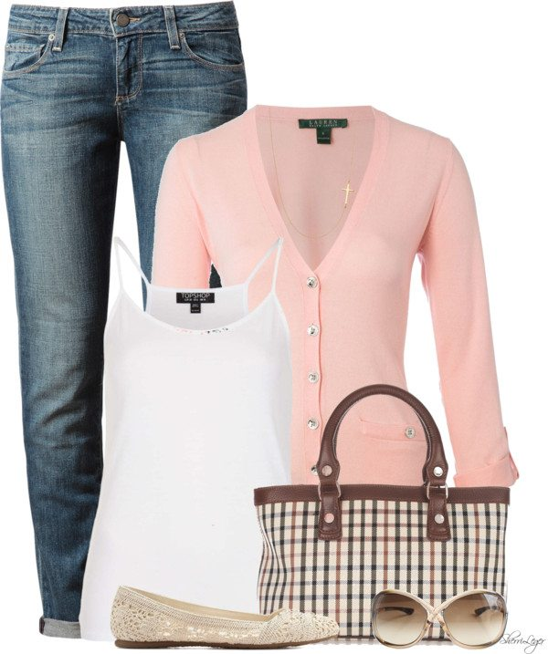 Lovely blush pink cardigan spring outfit bmodish