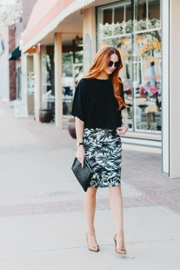 Palm Pencil Skirt bmodish