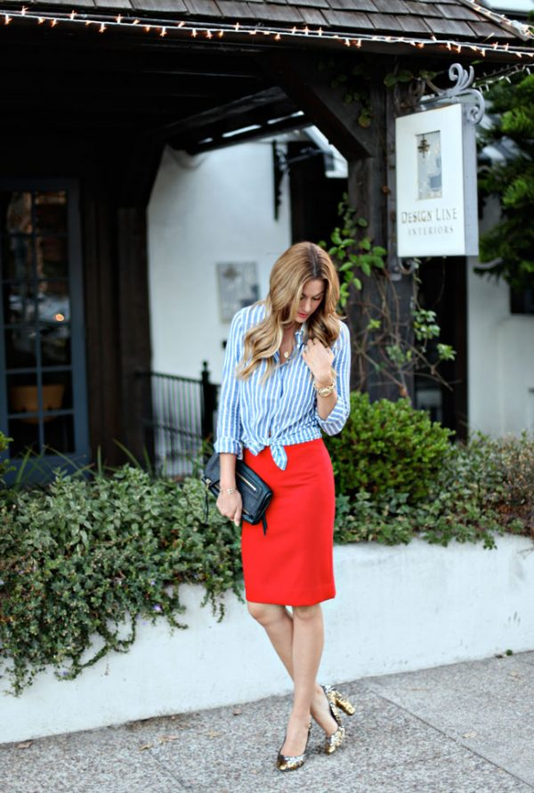 stylish red pencil skirt outfit bmodish
