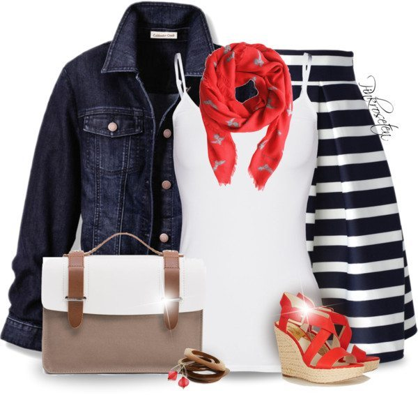 Striped Skirt, Tank Top, denim jacket cute spring outfit bmodish