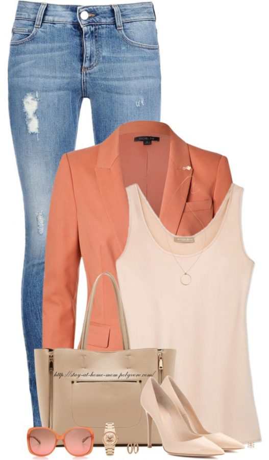 Tangerine Blazer & Nude Pumps spring outfit bmodish