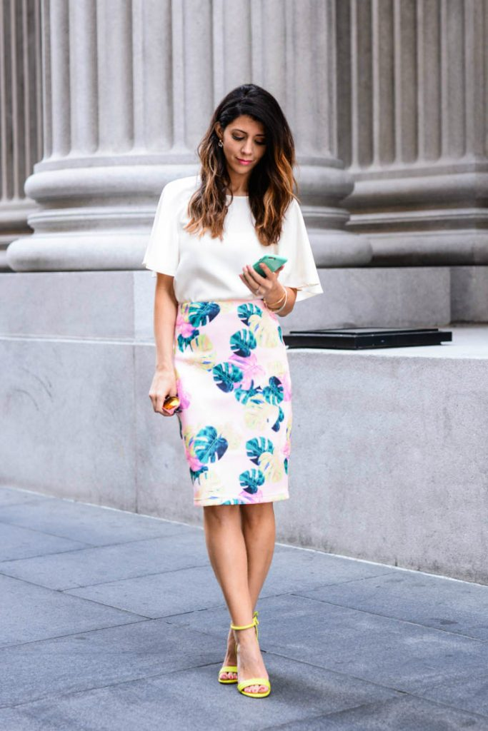 White top Palm print skirt bmodish