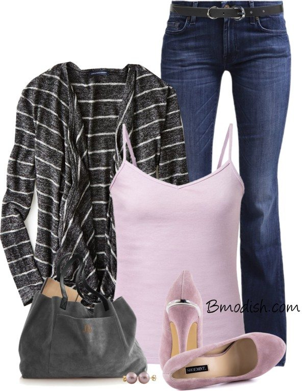ae cardigan lavender cami casual spring outfit bmodish