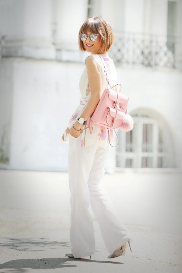 asos white wide leg pants with floral blouse bmodish