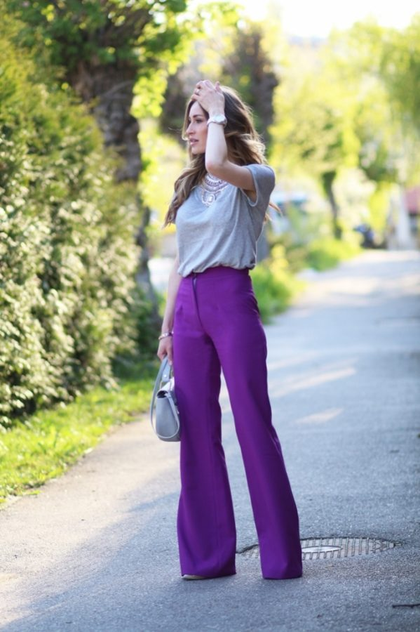 basic with purple wide leg pants bmodish