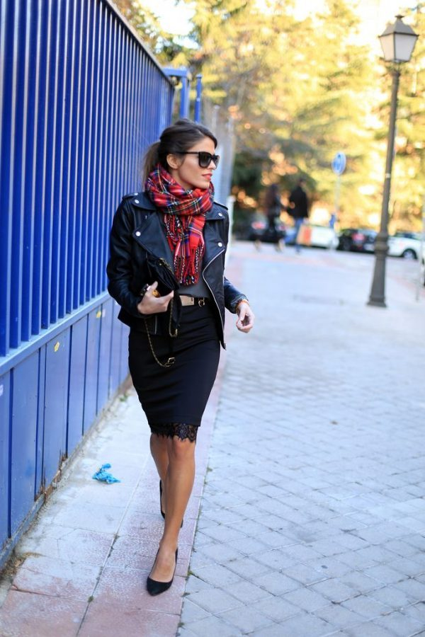 black pencil skirt moto jacket plaid scarf bmodish