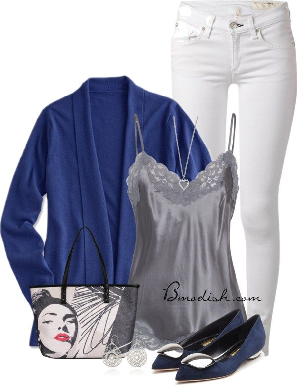 blue cardigan cami top spring outfit idea bmodish