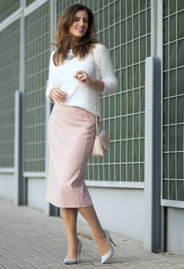 blush and pastel rock the pencil skirt bmodish